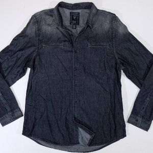 Guess Grey Faded-Design Full Button-Up Shirt